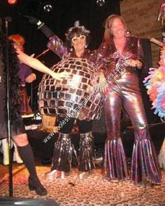 """Homemade Disco Ball and Disco Dancer Couple Costume: Nutty Nostalgia for my wild and carefree '70's disco dancing days gave me the inspiration for making a disco ball costume.  I also needed a """"Theme"""" for"""