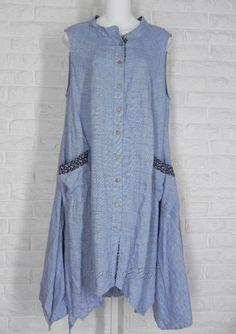 YUVITA Tunic Long Angle Hem Pinstripe Ditsy Floral Blue NWT Medium Large #Yuvita #Tunic #Casual
