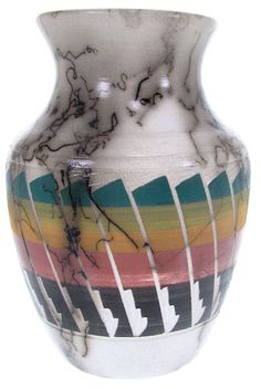 Horse Hair Pot - Navajo Vase by Native American Artist A. Woods. KS66633