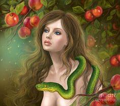 Poster que caracteriza a arte digitais da Apple Tentação.  Véspera bonita Mulher E Snake.  Mulher Nova E Apple.  por Alena Lazareva