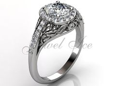 14k white gold diamond unusual unique floral by Jewelice on Etsy