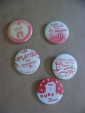 Vintage Lot of 5 Indiana University Hoosiers Metal Pinback Button Pins