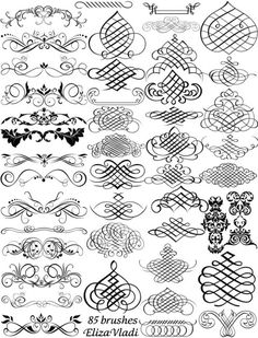 Brushes: Free brushes (ABR): Calligraphy master by ~ElizaVladi Caligrafia Copperplate, Photoshop, Calligraphy Letters, Penmanship, Zentangle, Swirls, Design Elements, Hand Lettering, Stencils
