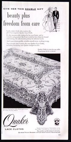 1953 Quaker Lace Cloths Tablecloths Magazine Ad