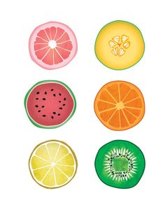 Colorful Collages Fruit Slices Stretched Canvas