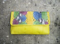 BASIC OVERSIZE - Hand painted Colorful Pattern in Yellow, Green, Red, Blue Flap  and Yellow Fold Over Python Snakeskin Leather Clutch. $147.00, via Etsy.