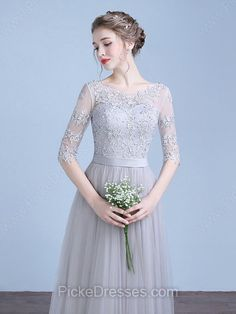 Perfect A-line Scoop Neck Tulle Appliques Lace Floor-length 1/2 Sleeve Prom Dresses