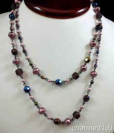 "Joan Rivers Czech Republic Purple Pink Blue Glass Bead Faux Pearl Necklace 39""L $30.00 SOLD"