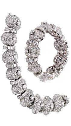 Bracelets, 1955 and 1959. Platinum with diamonds. Formerly in the collection of Ellen Barkin. Bulgari Heritage Collection, inv. 4924 B527, 4925 B528. © Antonio Barrella Studio Orizzonte Roma