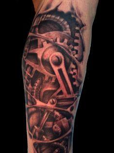 Awesome Grey Ink Biomechanical Tattoo On Leg Head Tattoos, Cool Tattoos, Biomechanical Tattoo Design, Homemade Tattoos, Mechanic Tattoo, Branding Tools, Tattoo Removal, Traditional Tattoo, Body Art