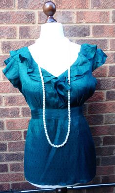 6c70d2f30a Pretty teal green blouse with frill colar and tie belt. From Next size 12