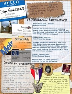 Resume super creative - wow - not just words on paper anymore. I would have loved to see a resume like this when I was hiring people. My how things have changed!  I love it!