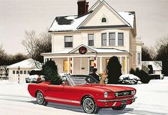 Mustang Christmas. Funny ad...top down on convertible showing sni1 in the ground.