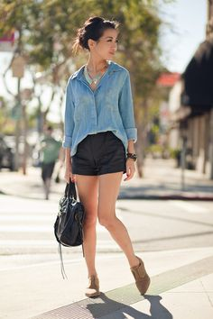 Just a little heel. Why does it never occur to me to wear button-up shirts with shorts? (Wendy's Lookbook)