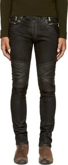 Balmain Black Coated Biker Jeans, Skinny-fit coated denim biker jeans in black. Six-pocket styling. Logo patch at back waistband. Two-way wraparound zipper at waistband. Ribbing at outseams. Quilted panels at knees. Tonal stitching. Zip-fly. 98% cotton, 2% polyurethane. Made in Japan