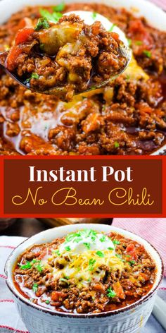 An easy keto low carb beef chili made in the Instant Pot pressure cooker or slow cooker. This no bean chili is rich and full of delicious flavor the whole family will love. pot recipes stew Keto Low Carb Beef Chili - Instant Pot or Crock Pot Chili Instant Pot Recipe, Instant Pot Dinner Recipes, Recipes Dinner, Dinner Ideas, Chilli Recipes, Salmon Recipes, Seafood Recipes, Pasta Recipes, Kraft Recipes