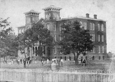 The Old Main in Auburn, for nearly three decades, except for the Civil War interruption, the hub of student life at East Alabama Male College and, later, the Agricultural and Mechanical College of Alabama, established by the Morrill Act of 1862. It is shown here as it appeared in 1883, four years before it burned and was replaced by a new main building, later named Samford Hall.