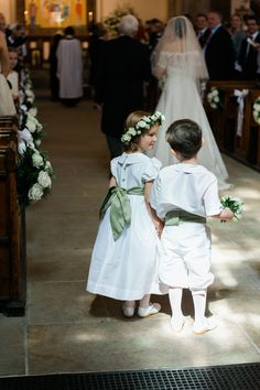 The flower girls and page boys were wearing Little Eglantine white outfits with pale green sashes and cummerbunds for this elegant Kensington palace wedding Girls Bridesmaid Dresses, Wedding Dresses, Bridesmaids, Green Wedding, Wedding Flowers, Designer Flower Girl Dresses, Holy Communion Dresses, Page Boy, Christening Gowns