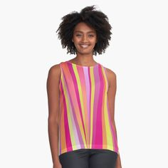 'Happy Place Collection, Vertical Stripe, Coordinate' Sleeveless Top by Sharon Schwalbe Pretty Shirts, Green Stripes, Stripes Design, Violet, Chiffon Tops, Sleeveless Tops, Creations, Etsy, Printed