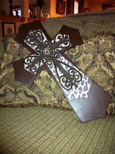 Large Brown and Leopard print Wood Cross by SignsBYDebbieHess, $30.00