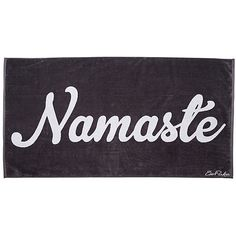 Namaste Beach Towel Dark Gray Beach Towels ($39) ❤ liked on Polyvore featuring home, bed & bath, bath, beach towels and jacquard beach towels