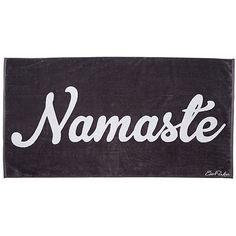 Namaste Beach Towel Dark Gray Beach Towels ($39) ❤ liked on Polyvore featuring home, bed & bath, bath, beach towels and jacquard beach towels