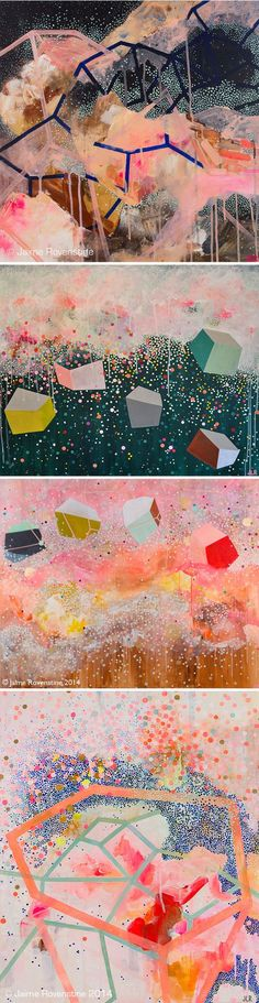 I like to imagine that these abstract worlds are made of candy, and are most likely home to a bunch of unicorns. These colorful layers of dots and lines are the work of Kansas based painter Jaime Rove