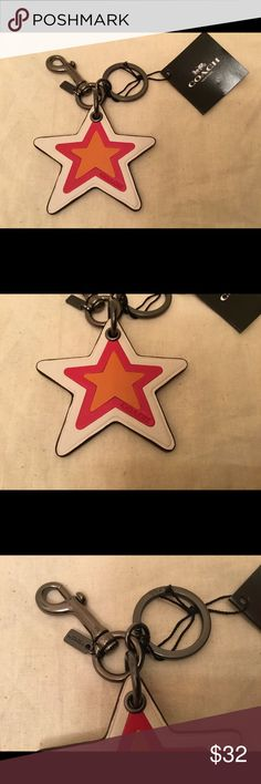 Coach Leather Star Bag Charm - NWT This is a brand new with tags Coach Leather Star Bag Charm.  Can also be used as a key ring.  Style F56750. Coach Accessories Key & Card Holders