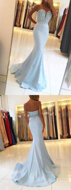 Strapless Sweetheart neck mermaid prom dresses with beaded bodice,mermaid prom dresses,long prom dresses,prom 2018