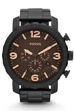 Fossil Nate Chronograph Stainless Steel Watch – Black | EVOSY The Premier Destination for Watches and Accessories