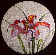 Guilding the lily, 2001 by mosaic artist Sarah Zirkel. Venetian smalti glass and marble.