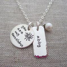 Mother's Day Jewelry - You Are My Sunshine - Child's Name Necklace - Personalized Mother's Necklace - Hip Mom Jewelry