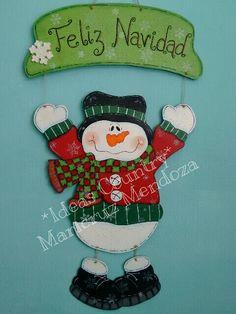 colgante para puerta navideño muñeco de nieve