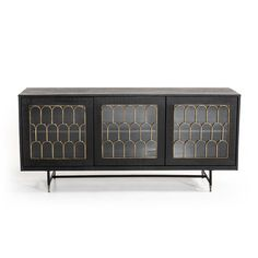 Mercer41 Chaska Sideboard & Reviews | Wayfair Countertop Materials, Wood Countertops, Door Storage, Storage Spaces, Beautiful Dining Rooms, Panel Doors, Wood Veneer, Adjustable Shelving, Art Deco Fashion