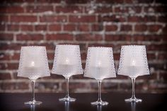 GiGi | Wine Glass Shades fit over any standard 12-16 oz (sometimes up to 18oz) wine glass to bring instant elegance to any dinner table, event, wedding or party. Simply drop in the water-activated floating LED candle & enjoy!  Includes 4 shades & 4 candles.  Expandables.ca