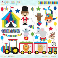 Welcome to the circus! Digital clip art included in this set: ringmaster, clown, hippopotamus, bear, lion, lioness, elephant, monkey, tent,