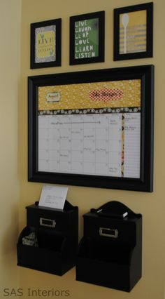 a white board-like calendar, with places to put papers you'll need easy access to and maybe a key hook and purse hook...maybe in the kitchen?