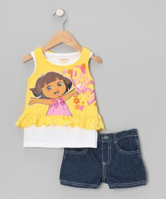 Take a look at this Dora the Explorer Yellow 'Dora' Layered Tank & Denim Shorts - Infant, Toddler & Girls on zulily today!