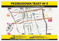 [Łódź] Mapa komunikacji zbiorowej na czas remontu Trasy W-Z w Łodzi