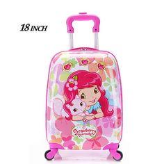 "18"" inch Children Luggage Suitcase,Child Kid Boy Girl Princess Cat ABS Cartoon trolley case box Traveller Pull Rod Trunk"