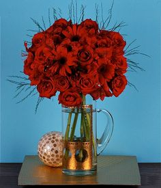 ROMANCE Roses, Asparagus, Carnations & Gerberas Who doesn't want romance to spice up her life? This lovely spray of red roses, carnations and gerberas will definitely give you a special memory to cherish with forever! Carnations, Spring Flowers, Spice Things Up, Asparagus, Red Roses, Glass Vase, Romance, Life, Romance Film