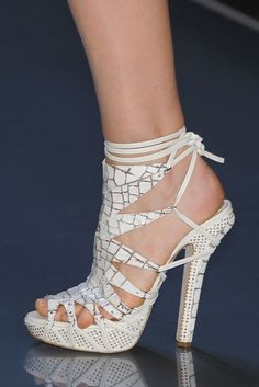Christian Dior Spring 2009 RTW White Strappy Platform Sandals #Dior #Shoes