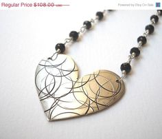 Clearance Sale  Black Onyx Heart Necklace  by VeronicaRussekJoyas, $54.00