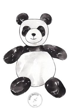 Good objects - Panda toy illustration from the 8 animals toys printable collection for nursery rooms #goodobjects #watercolor #illustration