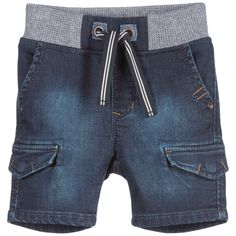 Boys blue denim jeans shorts by Catimini. Made in a jog jeans denim, which means they are extra soft and stretchy, with a soft feel inside. They have popper pockets on the legs, 2 further front pockets with metallic rivets. On the back there are artificial pocket flaps and a distressed logo. They have a stretchy ribbed waistband with a stripy tie.<br /> <ul> <li>88% cotton, 10% polyester, 2% elastane (soft jog jeans feel)</li> <li>Machine wash (30*C)</li> <li>Elasticated waist</li> <li>Not…