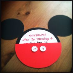 Homemade Mickey Mouse party invites! Inspired by a pin and I just finished my first one!