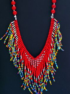 Native American necklace red silver  and by MontanaTreasuresbyMJ