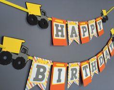 Construction Birthday Banner Dump Truck Birthday Banner