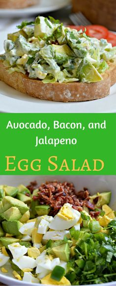This avocado, bacon, and jalapeno egg salad is a perfect side dish for any meal. The flavors are amazing and you will love this on a sandwich or just by itself. #VidaAguacate #Ad