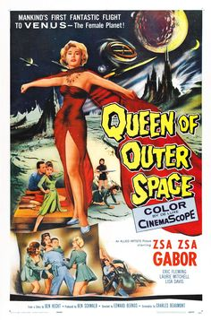 Queen of Outer Space is a 1958 American CinemaScope science fiction feature film starring Zsa Zsa Gabor, Eric Fleming, and Laurie Mitchell in a tale about a revolt against a cruel Venusian queen. Description from snipview.com. I searched for this on bing.com/images